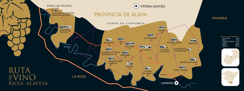 Mapas de la ruta del vino de rioja alavesa for Hoteles con encanto en la rioja alavesa